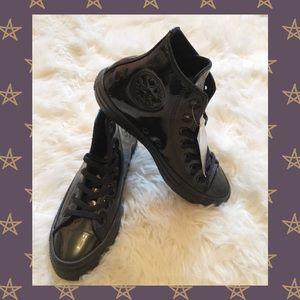NWT Shiny All Black Converse High Tops